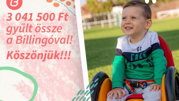 3 041 500  Ft gyűlt össze a Billingo családtól a kis Levi gyógykezelésére